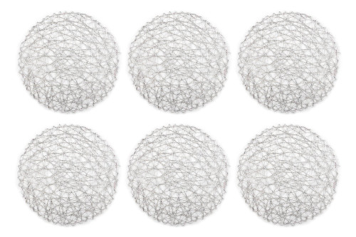 """Set of 6 Silver Colored Woven Paper Round Placemats 15"""" - IMAGE 1"""