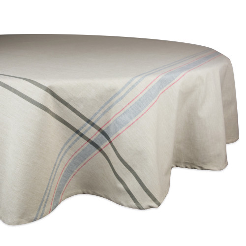 """Neutral Taupe and Gray French Striped Pattern Round Tablecloth 70"""" - IMAGE 1"""