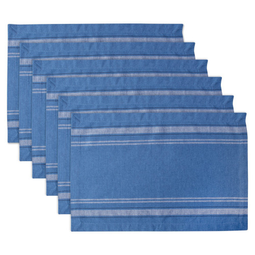 """Set of 6 Blue Chambray French Stripe Rectangular Placemats 19"""" x 13"""" - IMAGE 1"""