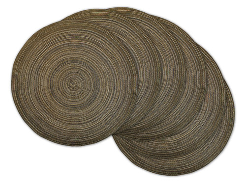 """Set of 6 Variegated Brown Round Woven Placemats 15"""" x 15"""" - IMAGE 1"""