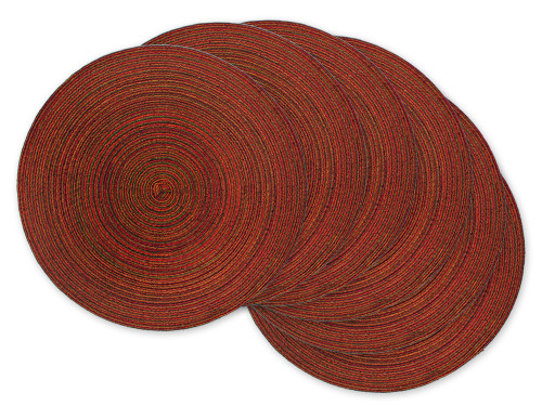 """Set of 6 Variegated Red Round Woven Placemats 15"""" x 15"""" - IMAGE 1"""