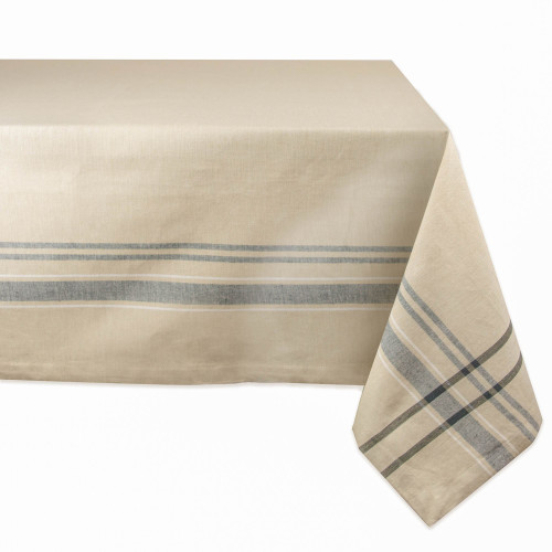"""White and Blue French Striped Pattern Rectangular Tablecloth 60"""" x 120"""" - IMAGE 1"""
