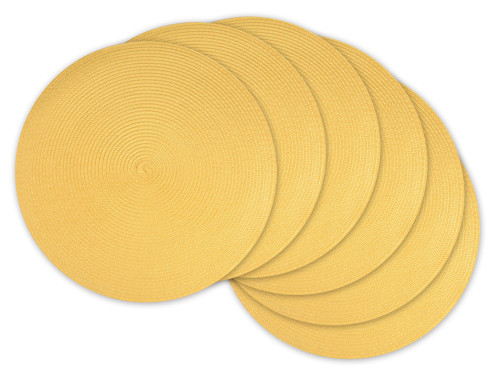 """Set of 6 Yellow Woven Round Placemats 15"""" - IMAGE 1"""