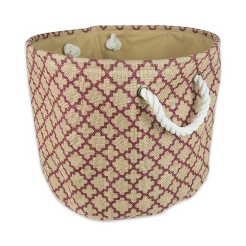 "15"" Brown and Maroon Burlap Round Medium Bin with Rope Handles - IMAGE 1"