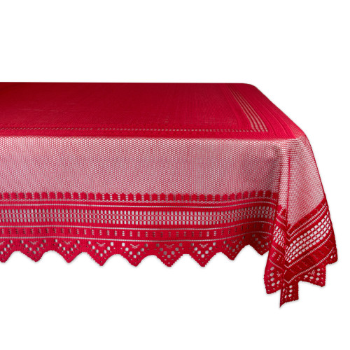 """Red Nordic Lace Designed Rectangular Tablecloth 52"""" x 90"""" - IMAGE 1"""