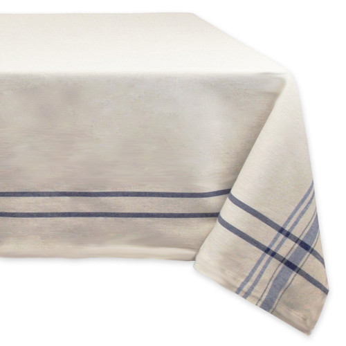 """Neutral Taupe and Nautical Blue French Stripe Rectangular Tablecloth 60"""" x 104"""" - IMAGE 1"""