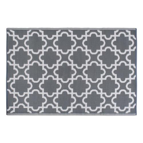 "48"" x 72"" Gray and White Lattice Pattern Outdoor Patio Rectangular Area Throw Rug - IMAGE 1"