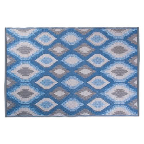 "48"" x 72"" Blue and Gray Ikat Pattern Outdoor Patio Rectangular Area Throw Rug - IMAGE 1"