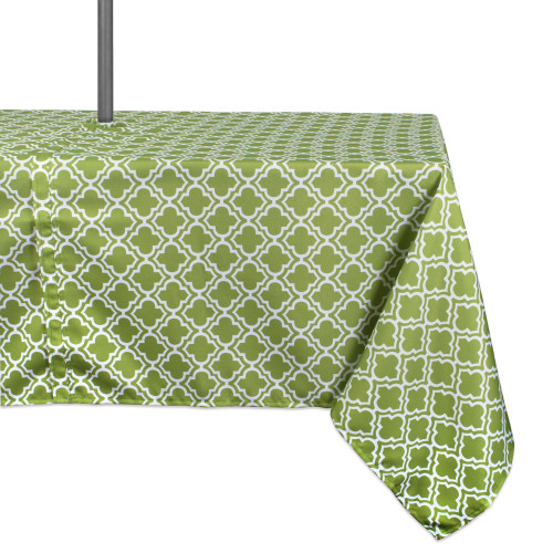 """Green and White Lattice Rectangular Tablecloth with Zipper 60"""" x 84"""" - IMAGE 1"""