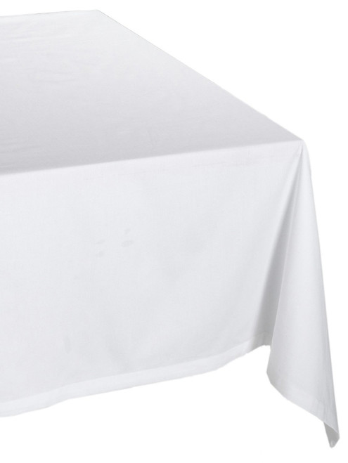 """60"""" x 120"""" Pure White Peace Themed Rectangular Tablecloth - IMAGE 1"""
