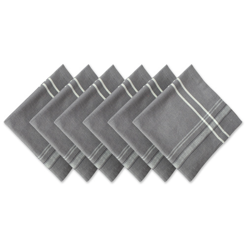 """Set of 6 Gray and White Chambray French Striped Square Napkins 20"""" - IMAGE 1"""