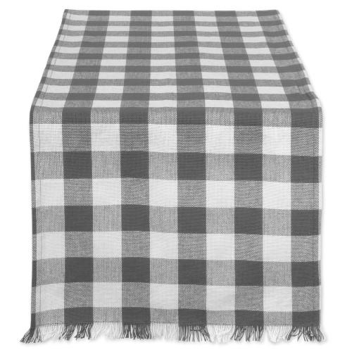 "14"" x 72"" Gray and White Checkered Pattern Rectangular Table Runner - IMAGE 1"