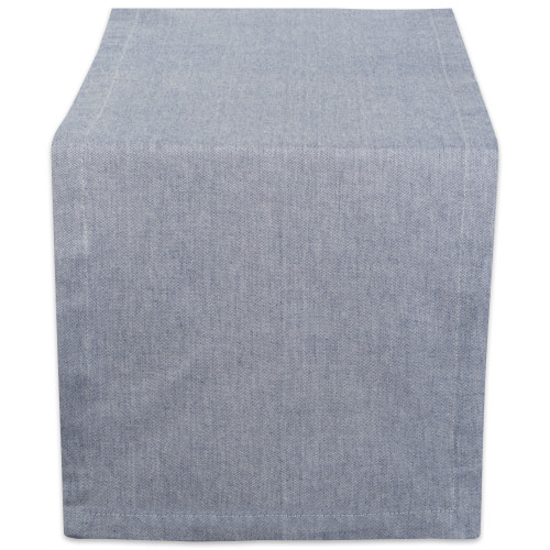 """14"""" x 108"""" Solid Blue Chambray Rectangular Table Runner - IMAGE 1"""