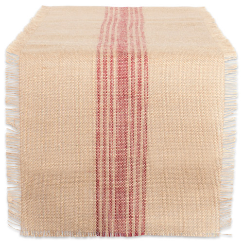 """14"""" x 72"""" Brown and Barn Red Middle Stripe Border Burlap Table Runner - IMAGE 1"""