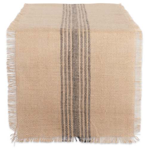 """14"""" x 72"""" Brown and Black Middle Stripe Border Burlap Table Runner - IMAGE 1"""