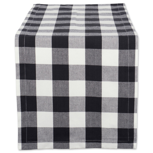"14"" x 72"" Black and White Buffalo Checkered Pattern Rectangular Table Runner - IMAGE 1"