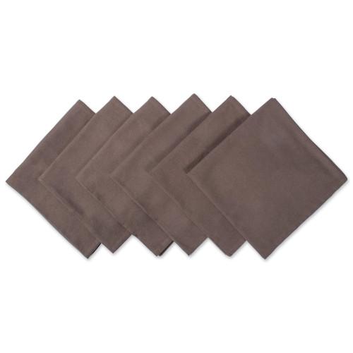 "Set of 6 Dark Brown Over Sized Square Napkins 20"" - IMAGE 1"