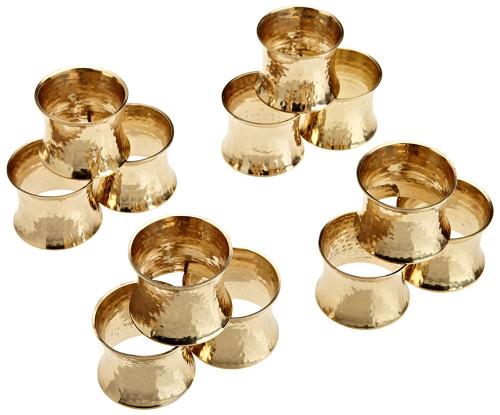 "Set of 12 Gold Finished Hammered Napkin Rings 2.5"" - IMAGE 1"