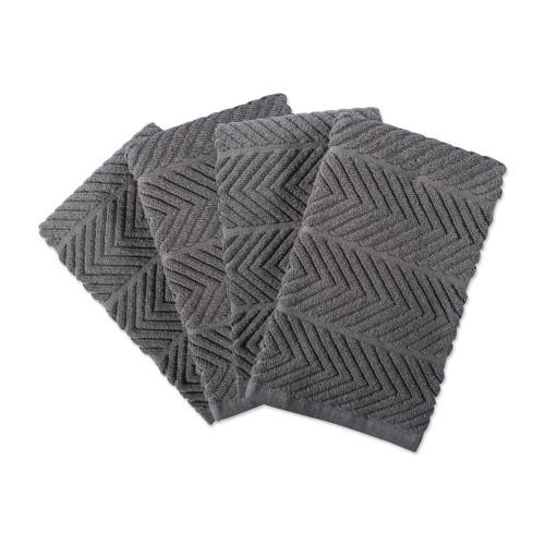 """Set of 4 Gray Luxury Barmop Rectangular Dishtowels 16"""" x 19"""" - IMAGE 1"""