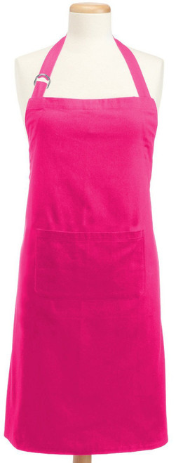 "32"" Neon Pink Solid Pattern Indoor Adjustable Chef's Apron with Pocket - IMAGE 1"