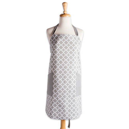 """37.5"""" Gray and White Lattice Print Chef's Apron with 2 Pockets - IMAGE 1"""