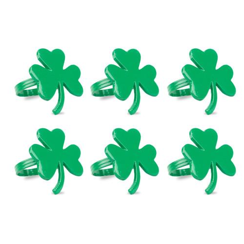 """Set of 6 Green Shamrock Leaf Designed Napkin Rings 2.25"""" - IMAGE 1"""