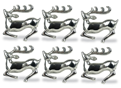 """Set of 6 Silver Colored Stag Pattern Napkin Rings 2.5"""" - IMAGE 1"""