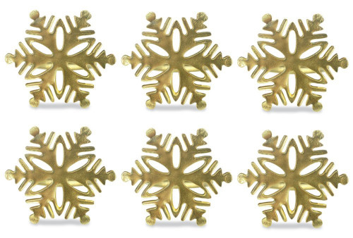 """Set of 6 Gold Colored Snowflake Pattern Napkin Rings 2.5"""" - IMAGE 1"""