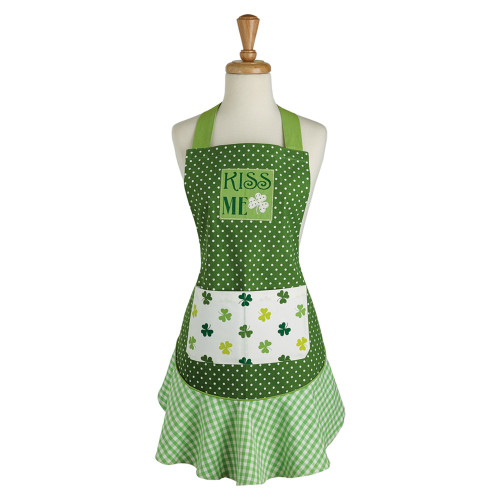 "28.5"" Green and White ""KISS ME"" Shamrock Ruffle St. Patrick's Day Kitchen Apron - IMAGE 1"