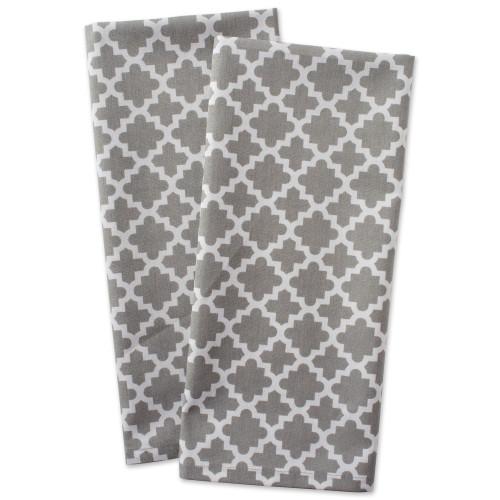 """Set of 2 Gray Lattice Designed Dishtowels 28"""" - IMAGE 1"""