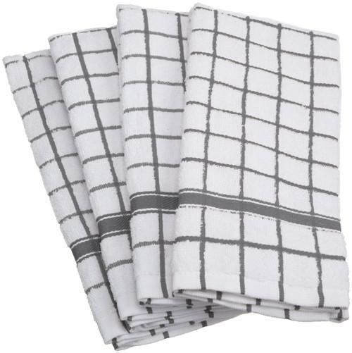 "Set of 4 Gray Windowpane Dish Towels 16"" x 26"" - IMAGE 1"