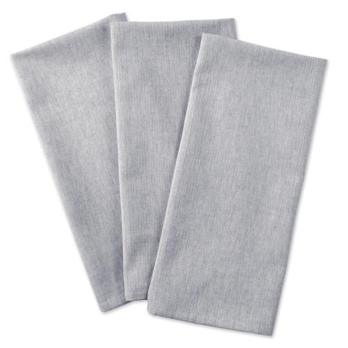 "Set of 3 Light Gray Rectangular Kitchen Dishtowels 20"" x 30"" - IMAGE 1"