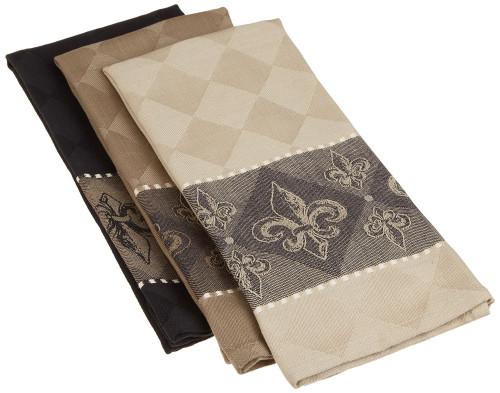 """Set of 3 Beige and Black Fleur De Lis Jacquard Dishtowels 28"""" - IMAGE 1"""