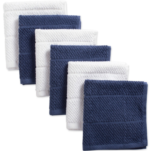 """Set of 6 White and French Blue Terry Square Kitchen Dishcloths 12"""" - IMAGE 1"""