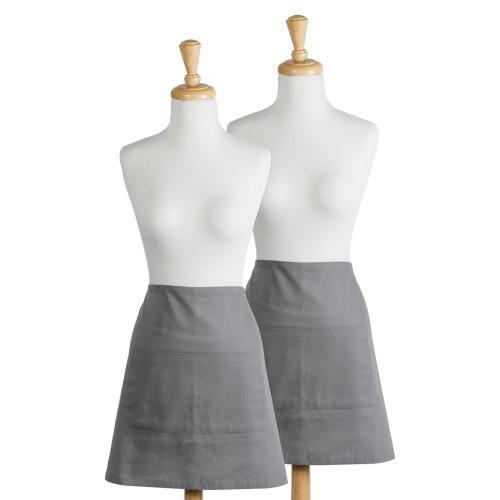 "Set of 2 Gray Chef Kitchen Waist Aprons 28"" - IMAGE 1"