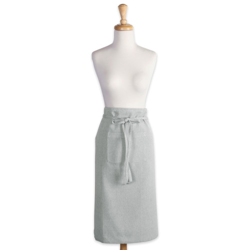 """30"""" Artichoke Blue Solid Pattern Chambray Bistro Apron with Pocket - IMAGE 1"""