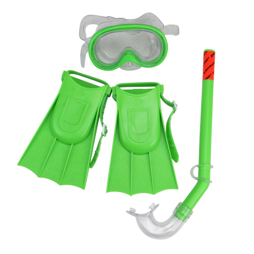"Set of 3 Green Recreational Mask, Snorkel and Fins For Children - 12.75"" - IMAGE 1"