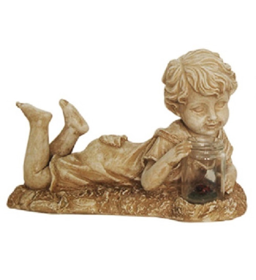 """14"""" Distressed Almond Brown Lounging Boy Solar Powered LED Lighted Outdoor Patio Garden Statue - IMAGE 1"""