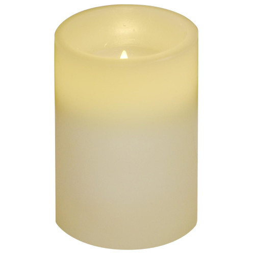 """4"""" Ivory White Battery Operated Flameless Flickering Wax Pillar Candle - IMAGE 1"""