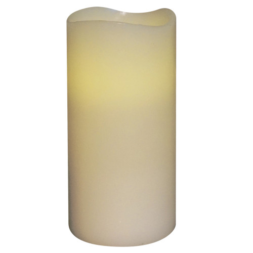 """6"""" Off White Battery Operated Flameless Flickering Vanilla Wax Pillar Candle - IMAGE 1"""