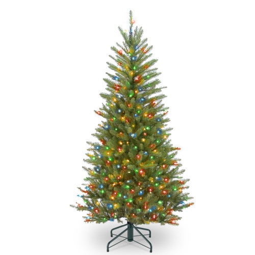 4.5' Pre-lit Dunhill Fir Slim Artificial Christmas Tree – Multicolor Lights - IMAGE 1