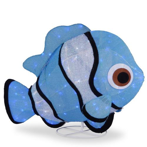 "38"" LED Lighted Blue Sisal Clownfish Outdoor Decoration - IMAGE 1"