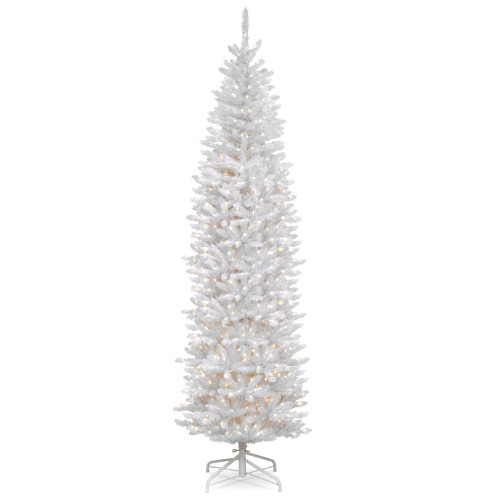 7.5' Pre-Lit Kingswood White Fir Pencil Artificial Christmas Tree - Clear Lights - IMAGE 1