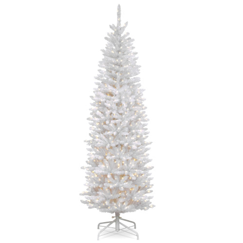 6.5' Pre-Lit Kingswood White Fir Pencil Artificial Christmas Tree - Clear Lights - IMAGE 1