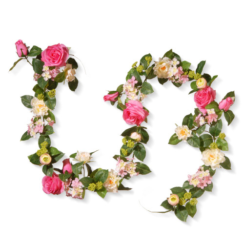 """72"""" Flower Decorated Artificial Garland - IMAGE 1"""