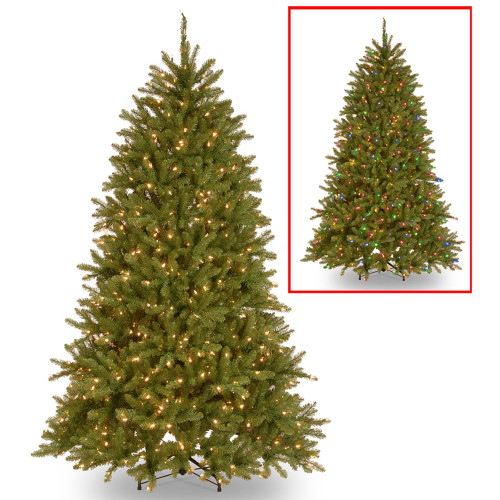 6.5' Pre-Lit Dunhill Fir Artificial Christmas Tree – Multi-Color/Warm White LED Lights - IMAGE 1