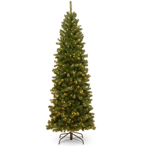 7.5' Pre-lit North Valley Spruce Pencil Artificial Christmas Tree – Clear Lights - IMAGE 1