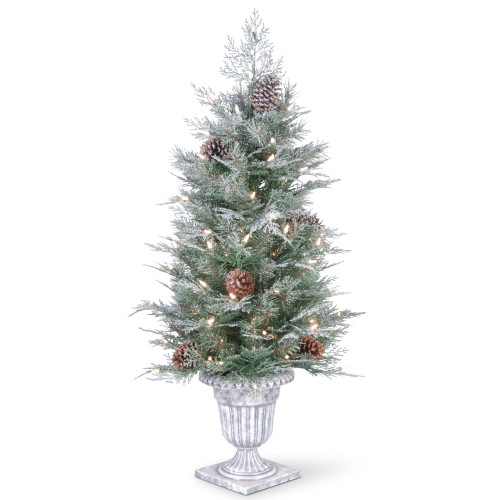 4' Pre-lit Potted Frosted Spruce Entrance Artificial Christmas Tree – Clear Lights - IMAGE 1