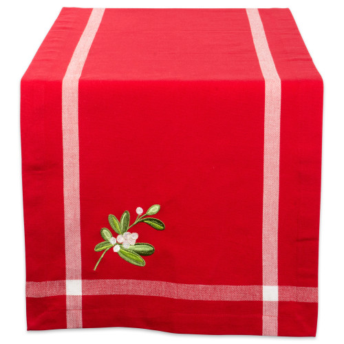 """14"""" x 72"""" Red and White Embroidered Rectangular Table Runner - IMAGE 1"""