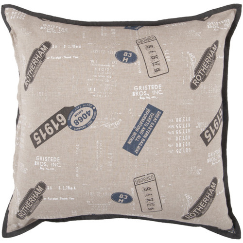 """22"""" Vintage Train Ride Brown and Midnight Blue Decorative Throw Pillow - Down Filler - IMAGE 1"""